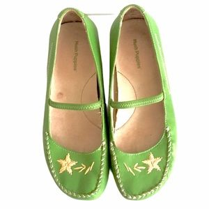 HUSH PUPPIES Moccasin Mary Jane Flat Shoes Green